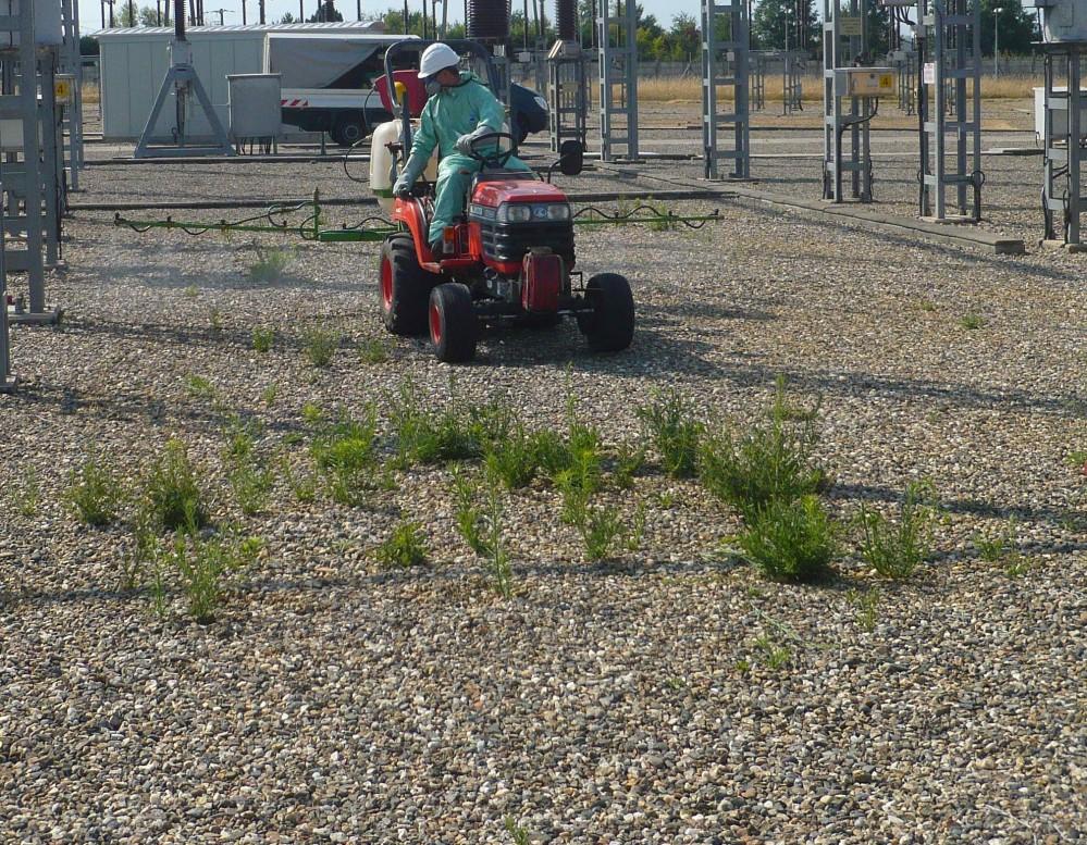 Désherbage avec ensemble monté sur tracteur